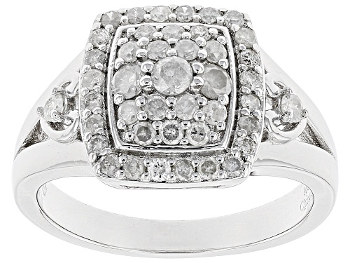 Photo of 0.72ctw Round White Diamond Rhodium Over Sterling Silver Ring - Size 8