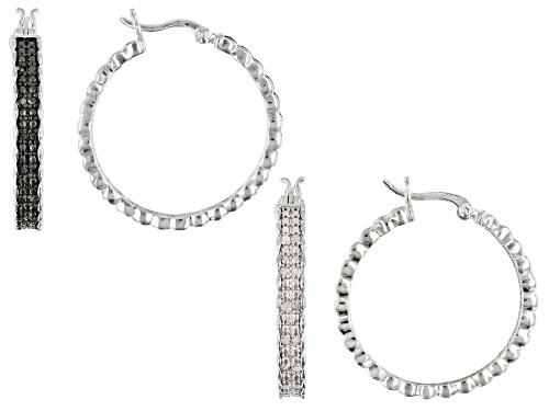 Photo of Emulous™ 0.50ctw Round White & Black Diamond Rhodium Over Brass Hoop Earrings Set