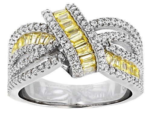Photo of Bella Luce® 2.10ctw Canary and White Diamond Simulants Rhodium Over Sterling Ring - Size 6