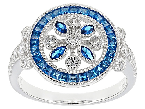 Photo of Bella Luce ® 1.05ctw Blue Sapphire And White Diamond Simulants Rhodium Over Sterling Silver Ring - Size 12