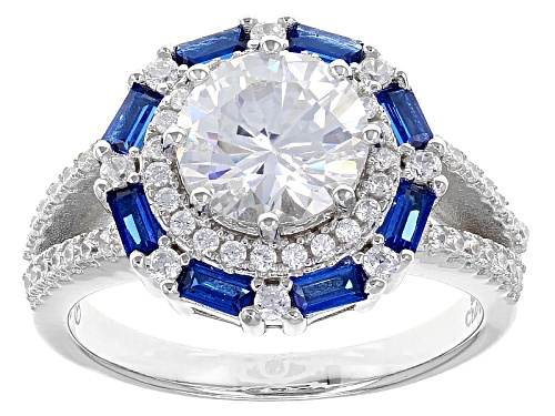 Photo of Bella Luce ® 3.88ctw Lab Blue Spinel And White Diamond Simulant Rhodium Over Sterling Silver Ring - Size 11