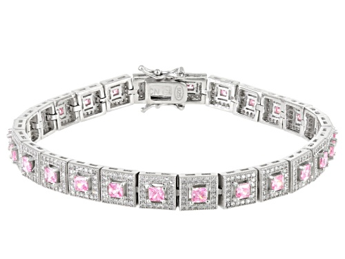 Photo of Bella Luce ® 11.04ctw Pink And White Diamond Simulants Rhodium Over Sterling Silver Bracelet - Size 8