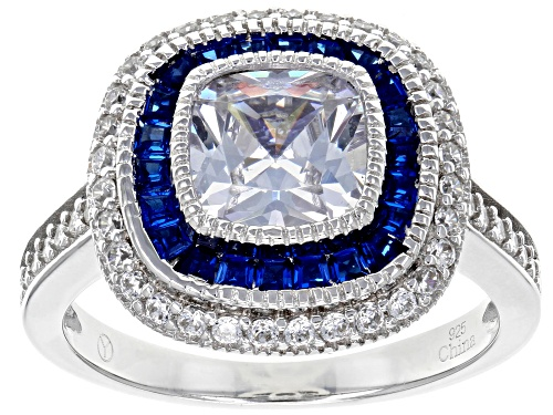 Photo of Bella Luce® 3.20ctw Lab Blue Spinel and White Diamond Simulants Rhodium Over Sterling Ring - Size 12