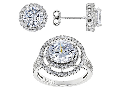 Photo of Bella Luce ® 6.75ctw Rhodium Over Sterling Silver Ring And Earrings