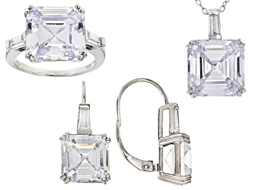 Photo of Bella Luce ® 40.65ctw Rhodium Over Sterling Silver Pendant With Chain, Earrings, And Ring
