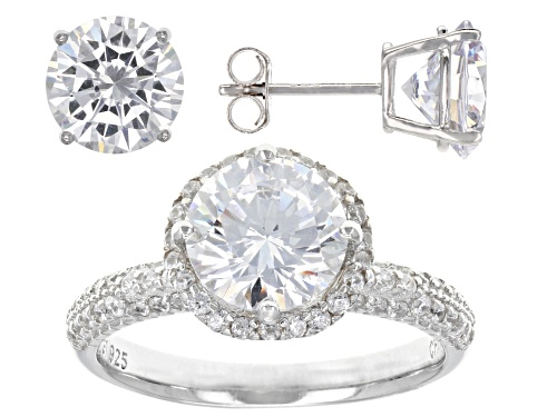 Bella Luce ® 11.92ctw Rhodium Over Sterling Silver Ring And Earrings