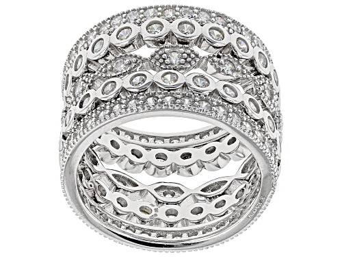 Photo of Rhodium over Sterling Bella Luce (R) White Diamond SIMULANT RINGS- SET OF 5 - Size 5