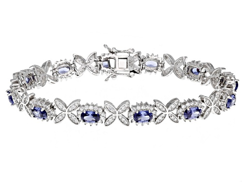 Photo of Bella Luce®Esotica™14.50ctw Tanzanite and Diamond Simulants Rhodium Over Sterling Bracelet - Size 7.5