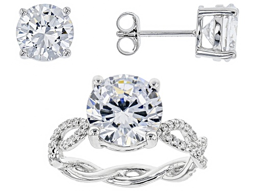 Photo of Bella Luce® 10.80ctw Rhodium Over Sterling Silver Ring and Earrings