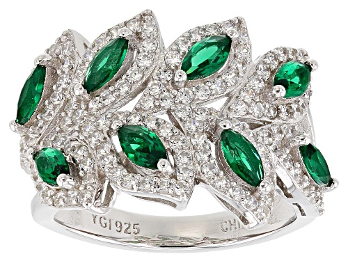 Photo of Bella Luce® 3.46ctw Emerald and White Diamond Simulants Rhodium Over Sterling Silver Ring - Size 11