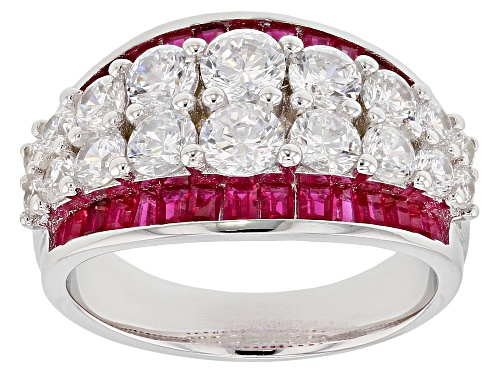 Photo of Bella Luce® 5.04ctw Lab Created Ruby and White Diamond Simulant Rhodium Over Sterling Ring - Size 7