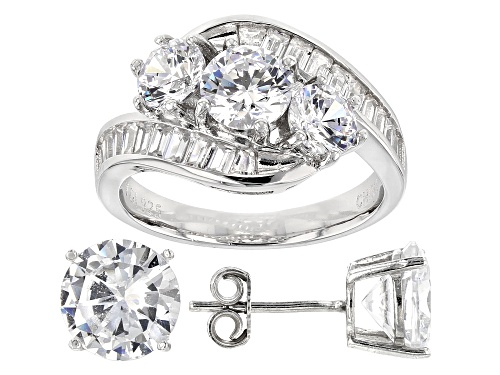 Photo of Bella Luce® 11.29ctw Rhodium Over Sterling Silver Ring and Earrings