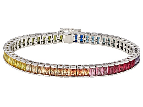 Bella Luce® 28.50ctw Multicolor Gemstone Simulants Rhodium Over Sterling Silver Bracelet - Size 8