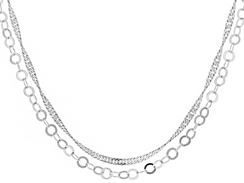Photo of Sterling Silver Mirror Cable And Singapore 60 Inch Chain Necklace Set Of Two