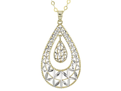 Photo of 10k Yellow Gold With Rhodium Over 10k Yellow Gold Polished Teardrop 18 Inch Necklace