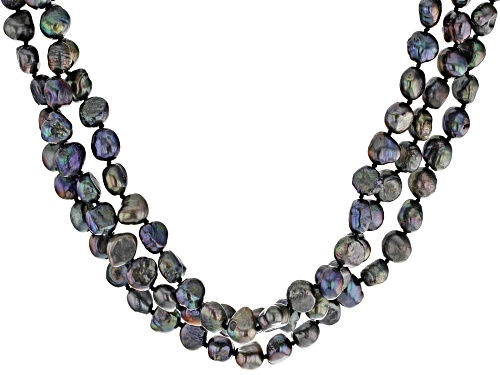 Photo of 5-7mm Blue Cultured Freshwater Pearl Rhodium Over Sterling Silver 3-Row Strand Necklace 16 Inch - Size 16