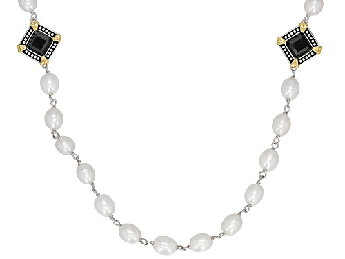 Photo of 7-8MM White Cultured Freshwater Pearl & Black Onyx Rhodium Over Sterling Silver Strand Necklace