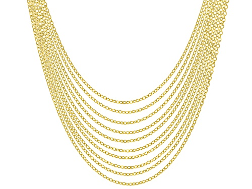 Photo of 18K Yellow Gold Over Sterling Silver Rolo Chain Necklace Set Of 10 - Size 20