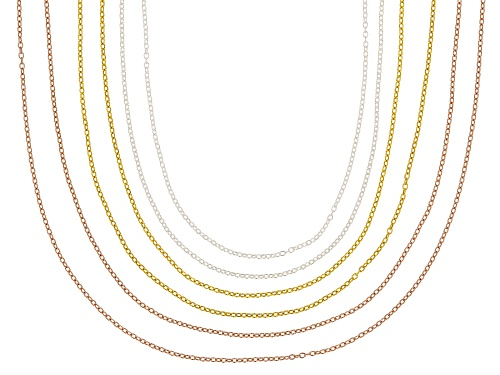 Photo of 18K Yellow, Rose Gold & Rhodium Over Sterling Silver Rolo Chain Necklace Set Of 6 - Size 18