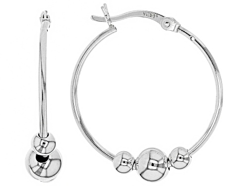 Photo of Sterling Silver 24MM  3-Bead Hoop Earrings