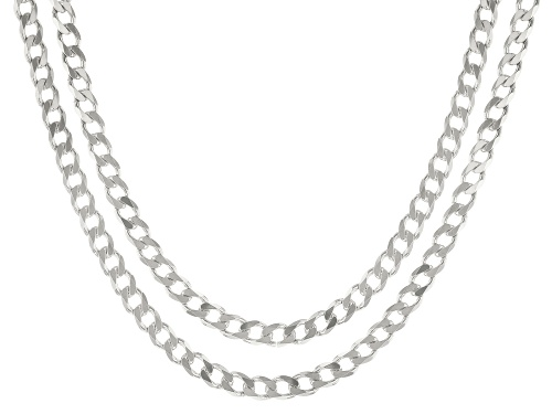 Photo of Sterling Silver Curb Chain Necklace Set 20 & 24 Inch