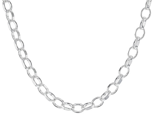 Photo of Sterling Silver Polished Oval Link Chain Necklace 18 Inch - Size 18
