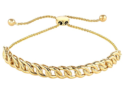 Photo of 10K Yellow Gold Open Link Crossover Cable Sliding Adjustable Bracelet 9 inches in length