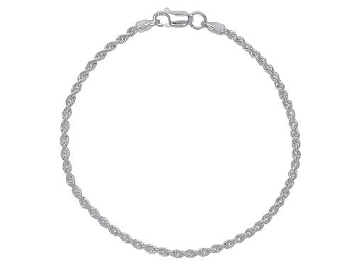 Photo of Sterling Silver Diamond Cut Rope Chain Bracelet 6.75 Inch - Size 6.75