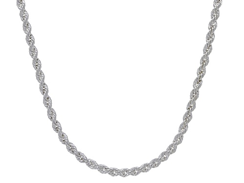 Photo of Sterling Silver 2MM Diamond Cut Rope Chain Necklace 18 Inch - Size 18