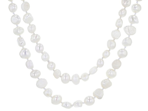 Photo of 7-8MM White Cultured Freshwater Pearl Strand Necklace Set 24 Inch - Size 24