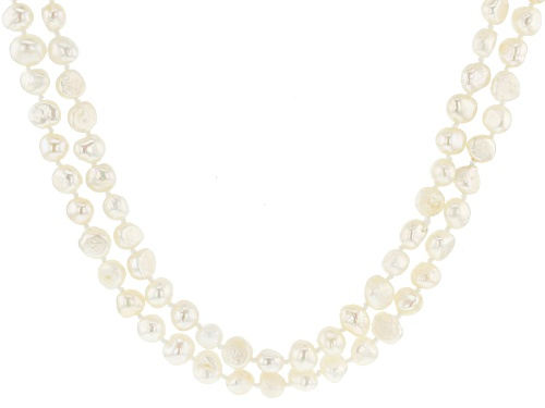 Photo of 7-8MM White Cultured Freshwater Pearl Endless Strand Necklace Set 60 Inch - Size 60