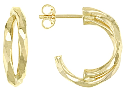 Photo of 14K Yellow Gold 12MM Hammered Half Double Hoop Earrings