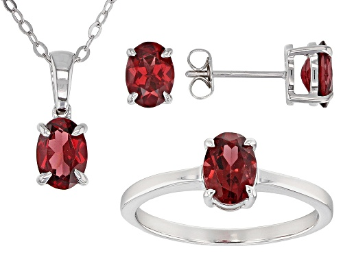 Photo of 3.68ctw Raspberry Color Rhodolite Rhodium Over Sterling Silver Earring, Ring & Pendant w/ Chain Set