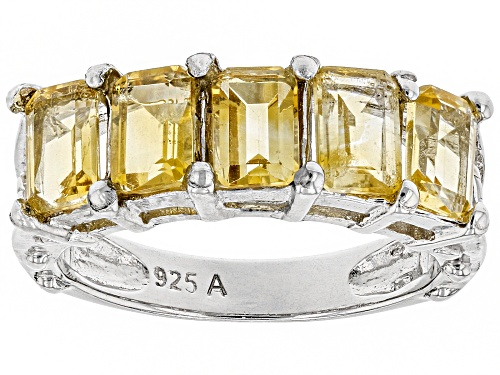 Photo of 2.85ctw Emerald Cut Citrine Rhodium Over Sterling Silver 5-Stone Band Ring - Size 8