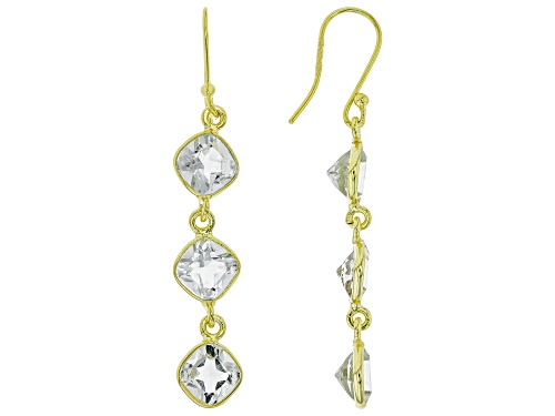 Photo of 8.73ctw Square Cushion Prasiolite 14k Yellow Gold Over Sterling Silver 3-Stone Dangle Earrings