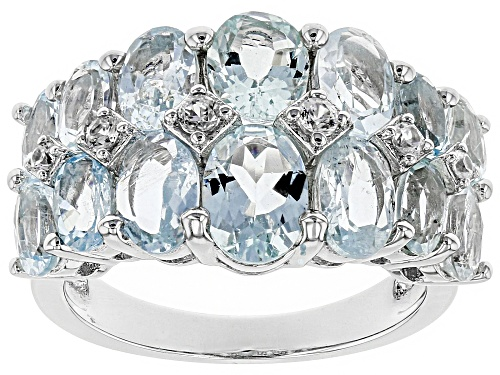 Photo of 5.70ctw Oval Brazilian Aquamarine With .18ctw Round White Zircon Rhodium Over Sterling Silver Ring - Size 8