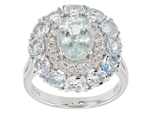 Photo of 3.55ctw Oval Aquamarine with .62ctw Round White Zircon Rhodium Over Sterling Silver Ring - Size 7