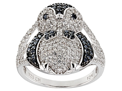Photo of .48ctw Round Black Spinel With 1.16ctw Round White Zircon Rhodium Over Sterling Silver Penguin Ring - Size 5