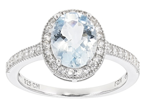 Photo of 1.40ctw Oval Aquamarine With 0.40ctw Round White Zircon Rhodium Over Sterling Silver Ring - Size 7
