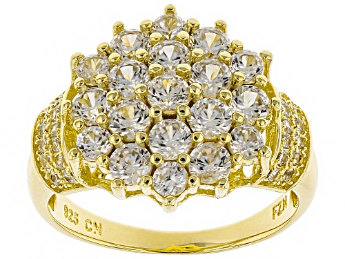 Photo of 2.61ctw Round White Zircon 18k Yellow Gold Over Silver Cluster Ring - Size 9