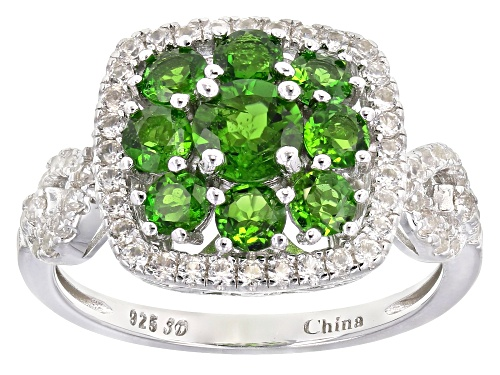 Photo of 1.77ctw Round Russian Chrome Diopside With .74ctw Round White Zircon Rhodium Over Silver Ring - Size 10