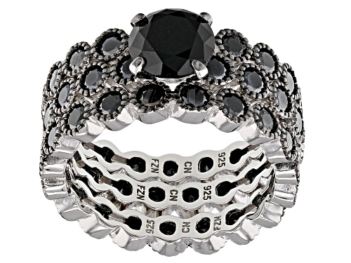 Photo of 6.54ctw Round Black Spinel Rhodium Over Sterling Silver Set of 3 Stackable Rings - Size 9