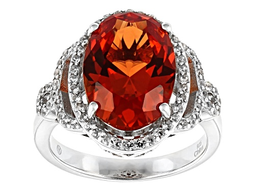 Photo of 7.25ct Lab Created Padparadscha Sapphire With .60ctw White Zircon Rhodium Over Silver Ring - Size 8
