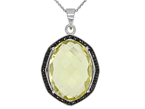 Photo of 22.00ctw Oval Lemon Quartz With 0.50ctw Black Spinel Rhodium Over Sterling Silver Pendant With Chain