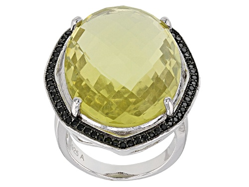 Photo of 22ct Oval Lemon Quartz With 0.5ct Black Spinel Rhodium Over Sterling Silver Ring - Size 6