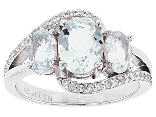 2.29ctw Oval Aquamarine With 0.22ctw Round White Zircon Rhodium Over Silver Ring - Size 7