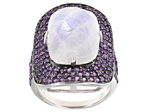 Photo of 10.00ct Rectangular Cushion Moonstone With 1.75ctw Purple Amethyst Rhodium Over Silver Ring - Size 6