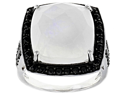 Photo of 12.50ct Square Cushion Moonstone With 1.25ctw Round Black Spinel Rhodium Over Silver Ring - Size 7