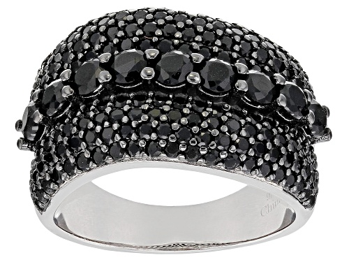 Photo of 3.15ctw Round Black Spinel Rhodium Over Silver Ring - Size 7