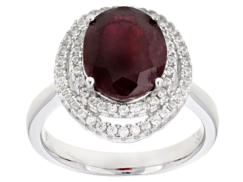 Photo of 3.49ct Oval Mahaleo® Ruby With 0.51ctw Round White Zircon Rhodium Over Silver Ring - Size 8